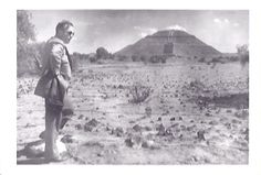 A man looking up at the Temple of the Sun, taken December 1953.