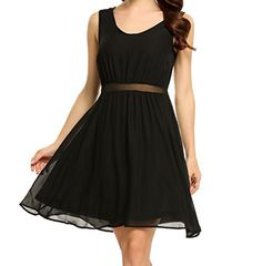 Yiilove Women Casual Sleeveless Solid V Neck Pullover Chiffon Pleated Cocktail Party Dress