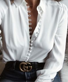 White Button Front Long Sleeve Shirt #interviewoutfits