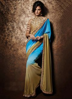 Designer Celebrity Party Wear Heavy Border Work Blue Saree With Blouse From Skysarees. Satin Saree, Chiffon Saree, Saree Dress, Sari, Saree Blouse, Indian Designer Sarees, Designer Sarees Online, Beautiful Saree, Beautiful Dresses