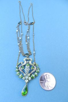 Edwardian guilloche enamel and pearls necklace, ca. 1910. Yum.