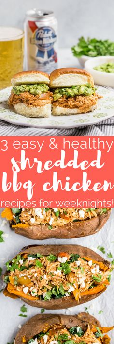 not only is slow cooker shredded bbq chicken an easy & healthy weeknight dinner, it's SUPER versatile. here are 3 of my favorite ways to use it (without eating the same thing all week long!) - shredded bbq chicken stuffed sweet potatoes, shredded bbq chicken meal prep bowls, & shredded bbq chicken sliders perfect for game day! #playswellwithbutter #slowcookerrecipe #crockpotrecipe #healthydinnerrecipe #easydinnerrecipe #bbqchicken #barbecuechicken