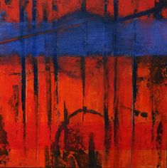 Acrylbild auf Leinwand – Rakelkunst – Rakel 35 mit Struktur – 90 x 90 cm - AbstrakteKunstDeppe.de