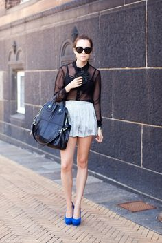 Sheer blouse & nightingale handbag