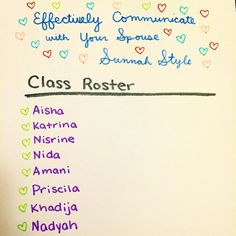 "Current roster for my ""Effectively Communicating with Your Spouse Sunnah Style Class"" happening tomorrow night at 7pm EST. --- It's not too late to register send me a message or email at coach@wellnesswithyasmin.com if you want in. --- One of the students is taking it alongside her hubby and she says: ""My husband and I are truly looking forward to this class In Shaa Allah! "" --- #wellnesswithyasmin #mindbodysoul #relationships #marriage #love #sunnah"