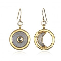 Pyrite Sun and Moon Disc Earrings | #retrogradestyle #SatyaJewelry #DesignedForTheJourney