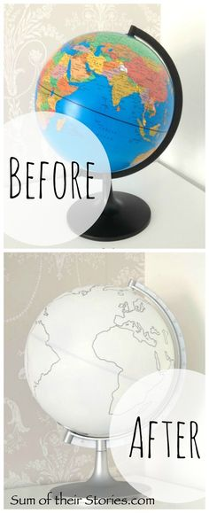 Simple Globe Makeover - easy diy with spray paint and a paint pen or marker Globe Art, Globe Decor, Map Globe, Globe Projects, Globe Crafts, Craft Projects, Craft Ideas, Globe Furniture, Kids Globe