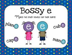 "FREE - 16 pages - This is a quick little freebie I made for my students to practice adding ""bossy"" e to the end of words.    In this packet:  -How I use bossy e in my classroom  -Bossy e anchor chart  -Quiz-quiz-trade cooperative learning game to help students apply bossy e  -Nonsense/real words sort  -2 highlighting practice pages  -2 trace and draw practice pages"