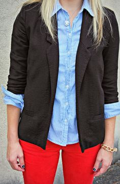 Every time I see red slacks, I regret the time I did not pick them up when they were on super sale at Gap!