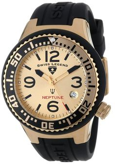 Swiss Legend Women's 11044P-YG-010-GDB Neptune Gold Tone Dial Black Silicone Watch >>> Check out this great product.
