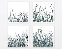 Nature Photo Print Set 8x8 Black and White Zen art Grass Botanical Art Minimalist trendy man, living room wall art