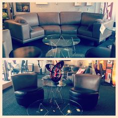 A rounded Jaymar sectional in a beautiful tan leather paired with two swivel accent chairs in the matching tan and a coordinating dark brown leather