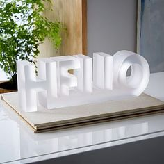 ORDERED 4/20- goes On reception desk Large Block Word Object - Hello #westelm
