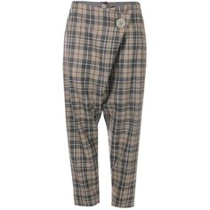 Vivienne Westwood Anglomania Tartan Double Front Flap Trousers ($420) ❤ liked on Polyvore featuring pants, capris, cropped trousers, front flap pants, tartan plaid pants, plaid pants and vivienne westwood anglomania