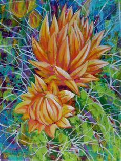 Catalina O. Rankin ~ Glow ~ Acrylic on Canvas Glow Paint, Cactus Painting, Desert Art, Southwest Art, Cacti And Succulents, Landscape Art, Watercolor Art, Photos, Canvas Art