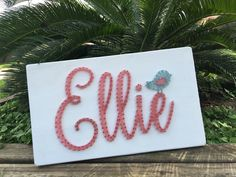 MADE TO ORDER custom name string art sign - large - with bird by AllWrappedUpDecor on Etsy https://www.etsy.com/listing/290087985/made-to-order-custom-name-string-art