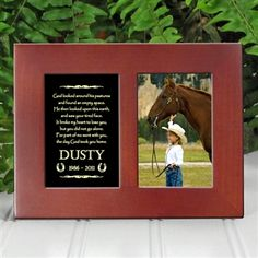 'Golden Memories' Personalized Pet Horse Memorial Picture Frame | EtchedInMyHeart.com | Walnut Brown Finish - $19.95