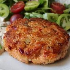 Chef John's Fresh Salmon Patties ~ 1 ¼ lb coarsely chopped salmon mixed with sauteed celery, red bell pepper, onions, minced garlic, & capers; 1 tsp Dijon mustard, pinch cayenne pepper, Old Bay Seasoning, ¼ c bread crumbs. Add ¼ c mayo as binder, rather than eggs. Refrigerate mixture 1-2 hrs before forming patties.