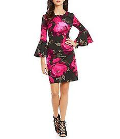 Trina Turk Splendid Floral Bell Sleeve Sheath Dress