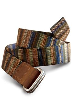 Rec-d Woven Leather Belt From Bison Design. Distressed leather trims add rugged style to the intricately woven jacquard design.
