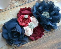 Navy Blue Flowers, Colorful Flowers, Embroidery Flowers Pattern, Flower Patterns, Chiffon Flowers, Fabric Flowers, Newborn Photo Props, Newborn Photos, Champagne Flowers