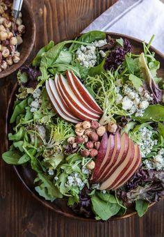Fall Chopped Salad: Hazelnuts, Pears, Bleu Cheese, and Mixed Greens