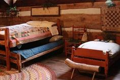 What?! Cute Primitive bedroom inspiration.   For a kids bedroom maybe?