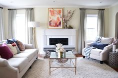 Living Room Makeover - I love how functional and pretty it is.