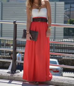 Coral maxi skirt, add a sweater for Fall
