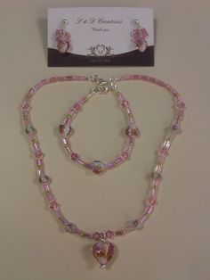 Pink Heart Necklace, Bracelet and Earrings Set
