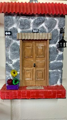 Casita de piedra Wall Key Holder, Decoupage, Doors, Landscape, Diy, Frame, Crafts, Furniture, Ideas
