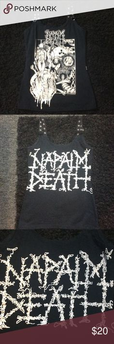 Napalm death custom tank small Napalm death black and white tank, best fit xs small, custom made small, straps have silver grommets are non adjustable, i wear 34b , fits like a fitted tank on me at that size, not recommended for large than c cup, tags goth gothic hot topic death metal black metal doom metal demonia dollskill yru current mood, wore once in euc , no fade no pilling Affliction Tops Tank Tops