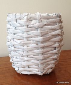 True to my personality, I have been distracted and I just couldn't help but want to try a recycled newspaper project that I pinned on my DIY/Crafts Pinterest Board a while ago. Above is the finishe...