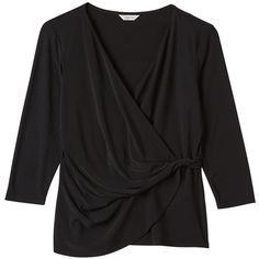 Precis Petite Maddie Jersey Chiffon Blouse, Black ($36) ❤ liked on Polyvore featuring tops, blouses, petite, draped tops, chiffon tops, v-neck tops, drape wrap blouse and plunge top