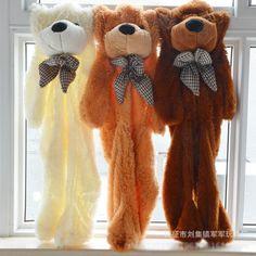 1Pc 200CM 3D Head 3 Colors Giant Teddy Bear Skin Coat Soft Adult Coat Plush Toys Friends Kids Birthday Christmas DIY Gift