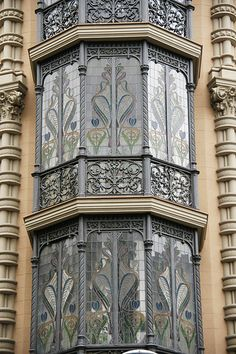 Modernismo, Art Nouveau, Jugendstil, Stile Floreale - architectural details: stained glass windows. Barcelona - Carrer de València