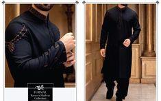 Men shlwar kameez in black color Model 11 – Nameera by Farooq Indian Men Fashion, Mens Fashion Wear, Suit Fashion, Gents Kurta Design, Boys Kurta Design, Kurta Pajama Men, Kurta Men, Designer Suits For Men, Designer Clothes For Men