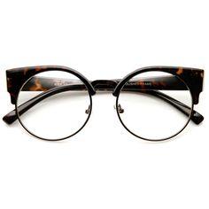 46b7550e5258 Womens Half Frame Semi-Rimless Clear Lens Cat eye Round Glasses