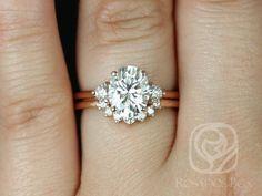 Rosados Box Gloria 9x7mm & Rayna 14kt Rose Gold Oval F1- Moissanite and Diamonds 3 Stone Sunburst Wedding Set by RosadosBox on Etsy https://www.etsy.com/listing/520541525/rosados-box-gloria-9x7mm-rayna-14kt-rose