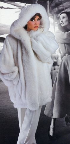Pretty White Mink & White Fox Fur Parka. Parkas are a must in the Snow!