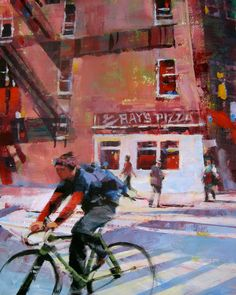 A Painting a Day by Patti Mollica: Ray's Pizza Route (acrylic)