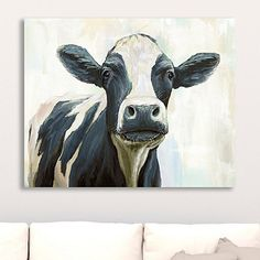 Add a quirky farmhouse print to your home's wall decor with Curious Cow Canvas Art Print. You'll love this spotted cow painted in an unconventional coat! Cow Paintings On Canvas, Farm Paintings, Cow Canvas, Animal Paintings, Canvas Art Prints, Cow Wall Art, Cow Art, Cow Pictures On Canvas, Cow Decor