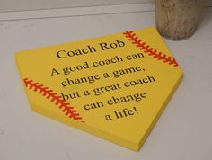 Coaches gift. Thank you coach. Softball coach. Baseball coach. Home plate sign. Baseball sign. Softball sign. Custom sign. Gift for coach. by Bridges2You on Etsy