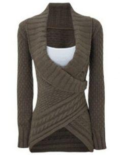 CHIC vuelta-Abajo suéter de cuello largo de la manga de las mujeres asimétricas