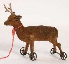 steiff deer on wheels   Primitive Toys   Pinterest