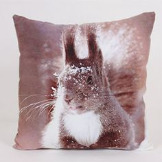 Winter Squirrel Cushion - Want to bring a touch of winter into your home but leave the cold outside? Then this cushion is perfect for you. http://www.harrycorry.com/squirrel-natural-cushion #squirrelcushion #winter