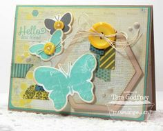 Blissful Butterflies; Washi Patterns; Blissful Butterflies Die-namics; Washi Tape Die-namics; Hexagon STAX Die-naics; Blueprints 4 Die-namics - Tara Godfrey