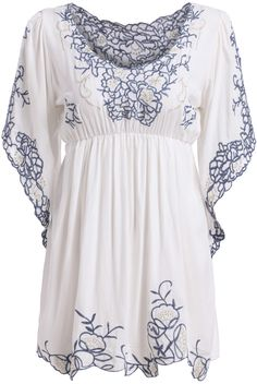 White Round Neck Embroidered Loose Dress 18.33