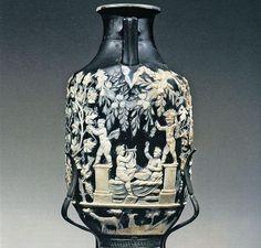 """Anforisco detto """"Vaso Blu"""" con eroti vendemmianti da Pompei (I sec. d.C.) - Museo Arch. Naz. Napoli"""
