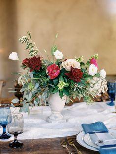 Berry rose wedding centerpiece: http://www.stylemepretty.com/2016/11/17/berry-wedding-color-ideas/ Photography: Rachel Solomon - http://rachel-solomon.com/